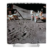 Apollo 15 Astronaut Works At The Lunar Shower Curtain