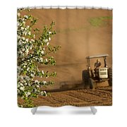Apple Blossoms And Farmer On Tractor Shower Curtain