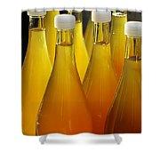 Apple Juice In Bottles Shower Curtain by Matthias Hauser