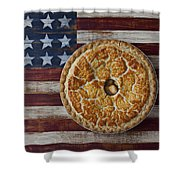 Apple Pie On Folk Art  American Flag Shower Curtain by Garry Gay