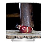 Apple Smashed With Mallet Shower Curtain