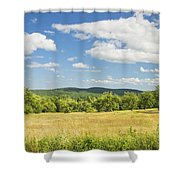 Apple Trees And Hay Field In Summer Maine Shower Curtain