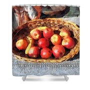 Apples And Bananas In Basket Shower Curtain