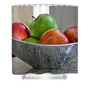 Apples In Fruit Bowl Shower Curtain