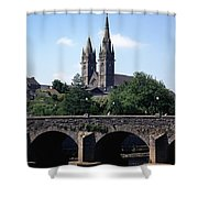 Arch Bridge Across A River With A Shower Curtain