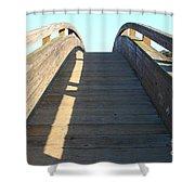 Arched Pedestrian Bridge At Martinez Regional Shoreline Park In Martinez California . 7d10526 Shower Curtain