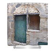 Arched Stone Work Over Door Shower Curtain