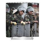 Argentine Marines Dressed In Riot Gear Shower Curtain by Stocktrek Images