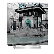 Arles Fountain With A Spot Of Color Shower Curtain