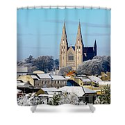 Armagh Cathedral In The Snow Shower Curtain