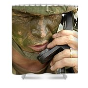 Army Master Sergeant Communicates Shower Curtain