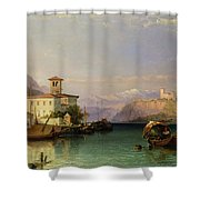 Arona And The Castle Of Angera Lake Maggiore Shower Curtain