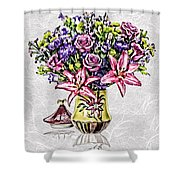 Arrangement In Pink And Purple On Rice Paper Shower Curtain