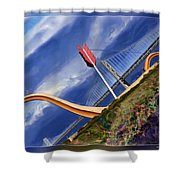 Arrow Through Bay Bridge Shower Curtain