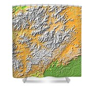 Artistic Map Of Southern Appalachia Shower Curtain