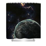 Artists Concept Of A Terrestrial Planet Shower Curtain by Tomasz Dabrowski