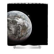 Artists Concept Of Earth As A Lifeless Shower Curtain