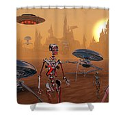 Artists Concept Of Life On Mars Long Shower Curtain