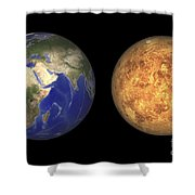 Artists Concept Showing Earth And Venus Shower Curtain by Walter Myers