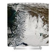 Ash Plume From Chaiten Volcano And Snow Shower Curtain