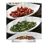 Assorted Herbal Wellness Dry Tea In Bowls Shower Curtain