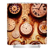 Assorted Watches On Time Chart Shower Curtain