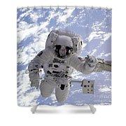 Astronaut Gernhardt On Robot Arm Shower Curtain