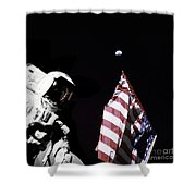 Astronaut Stands Next To The American Shower Curtain
