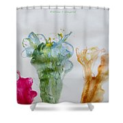 Asymetrical Flowers Shower Curtain