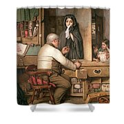 At The Pawnbroker Shower Curtain by Thomas Reynolds Lamont