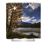 Athabasca River With Mount Fryatt Shower Curtain