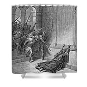 Athaliah (d. 836 B.c.). /nqueen Of Judah, C842-836 B.c. The Death Of Athaliah (ii Chronicles 22:10, 23:15). Wood Engraving, 19th Century, After Gustave Dor� Shower Curtain