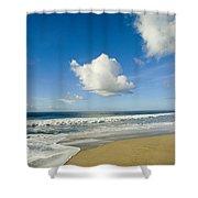 Atlantic Ocean Waves Break On The Beach Shower Curtain