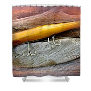 Atom A40 Vintage Saltwater Lure - Whiting Gold Shower Curtain