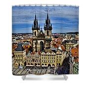 Atop The Clock Tower - Prague Shower Curtain