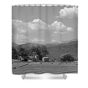 August Hay 75th  St Boulder County Colorado Black And White  Shower Curtain