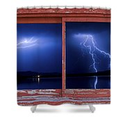 August Storm Red Barn Picture Window Frame Photo Art View Shower Curtain