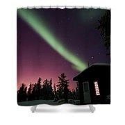 Aurora Borealis Above Cabin, Northwest Shower Curtain