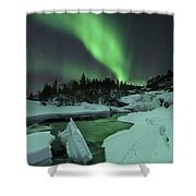 Aurora Borealis Over A Frozen Tennevik Shower Curtain