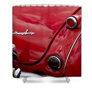 Austin-healey Tail Light And Emblem Shower Curtain
