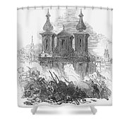 Austrian Revolution, 1848. Conflict At The University Of Vienna, Austria, During The Revolution Of 1848. Wood Engraving From A Contemporary English Newspaper Shower Curtain