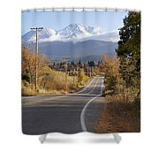 Autumn And Mt Shasta Down The Road Shower Curtain
