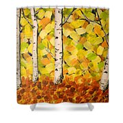 Autumn Aspens Shower Curtain