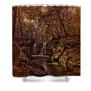 Autumn At The Waterfall In The Ravine In Central Park Shower Curtain