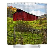 Autumn Barn Painted Shower Curtain