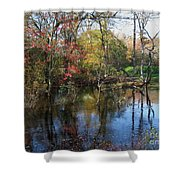 Autumn Colors On The Pond  Shower Curtain