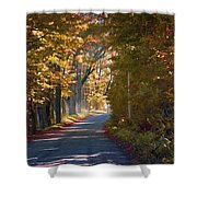 Autumn Country Road - Oil Shower Curtain