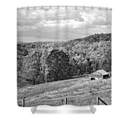 Autumn Farm 2 Monochrome Shower Curtain