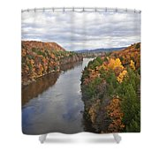 Autumn Foliage Scenery Viewed From French King Bridge Shower Curtain