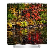 Autumn Forest And River Landscape Shower Curtain